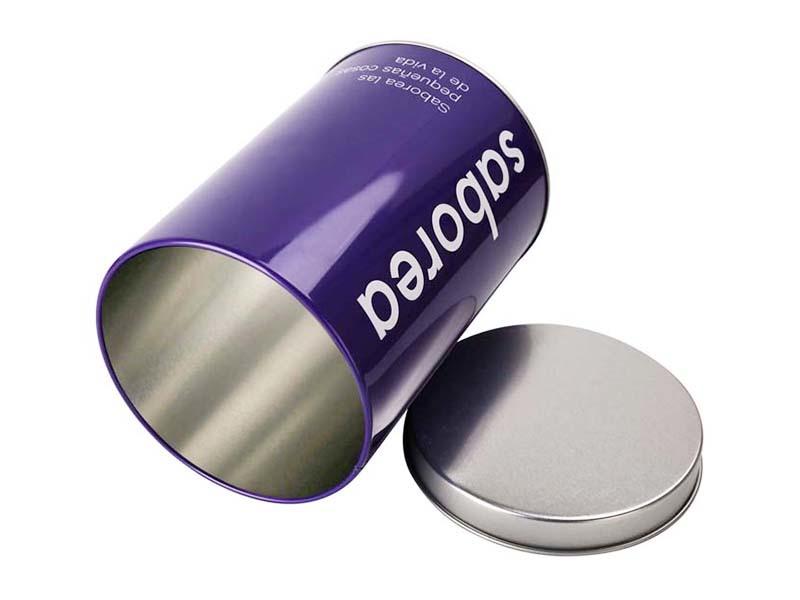 narrowing-mouth lip metal storage tin