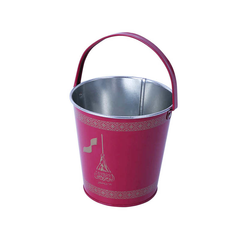 2019 best-selling stainless metal tin bucket red color