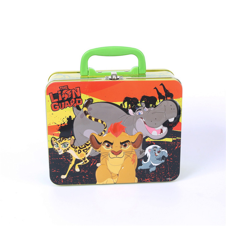Metal Custom tin lunch boxes with handle and lock