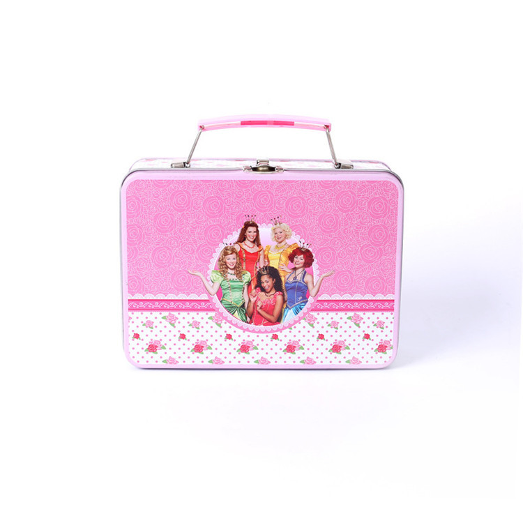 Rectangular lunch tinbox for kids with handle