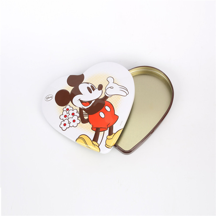 Heart shape candy packing tinbox with customized emboss