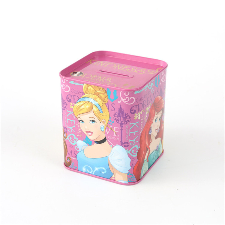 Creative cute square coin bank with sealed lid for kids