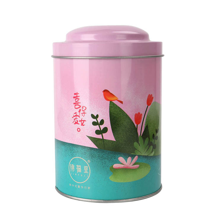 Deep round tin can for tea packing