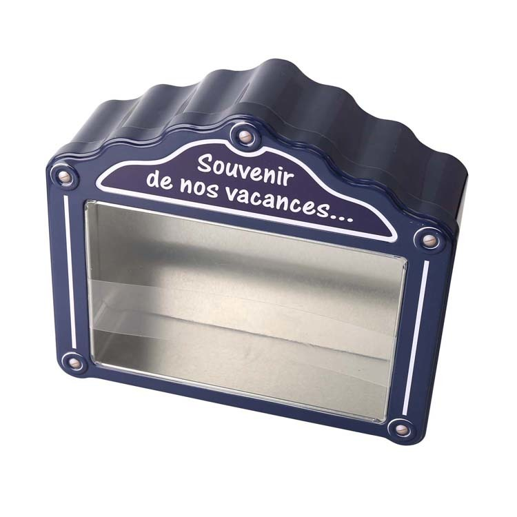 House shape tin box for packing gift with clear window