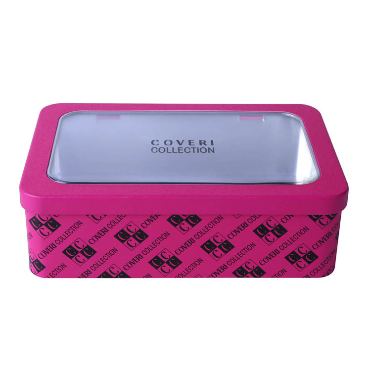 Cosmetic tin packing box with clear window and hinge