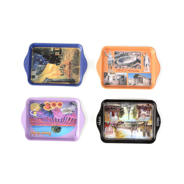 rectangular tin tray with beautiful design