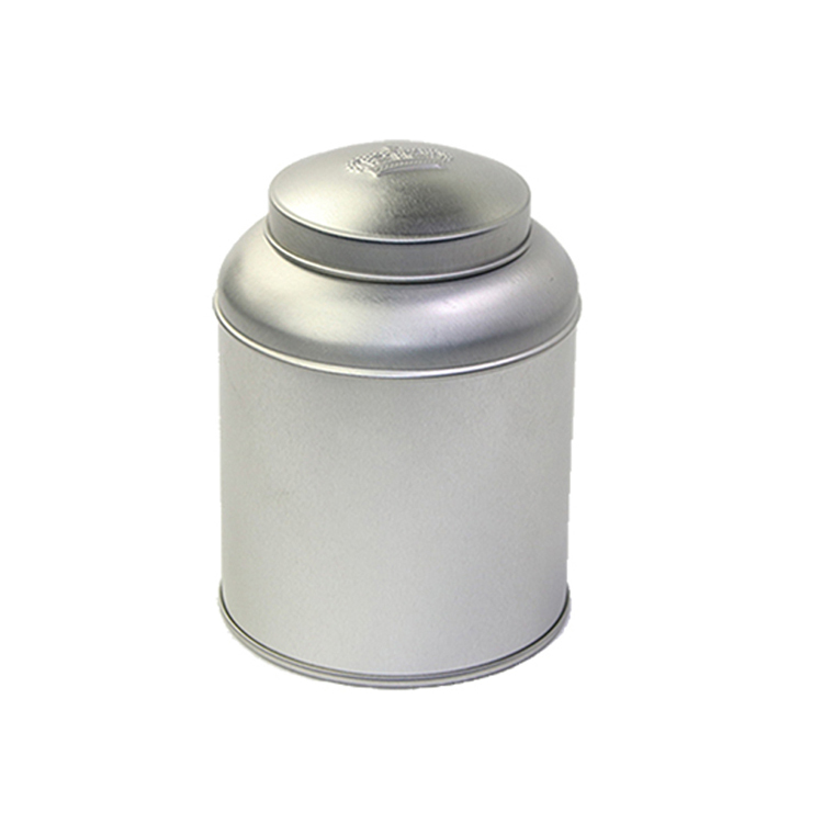 Sliver color round tea tin box with inner lid