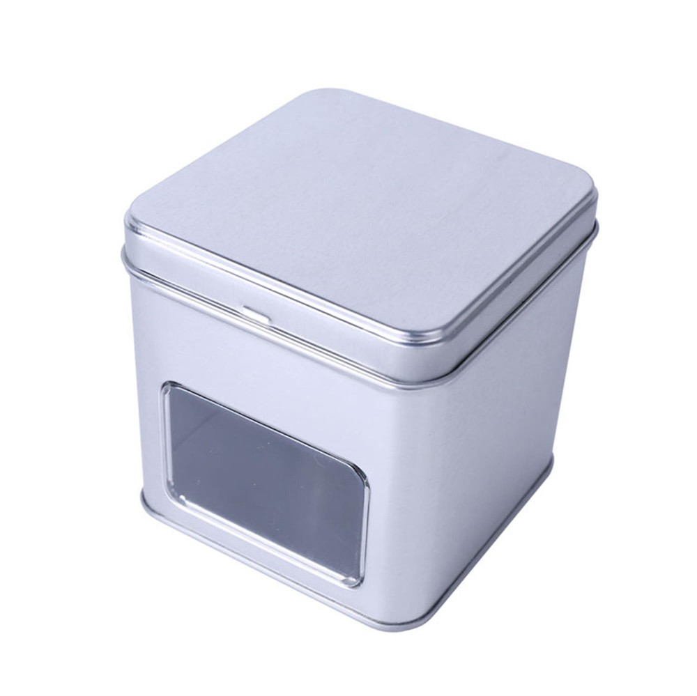 factory promotion square metal tin box with PVC windown