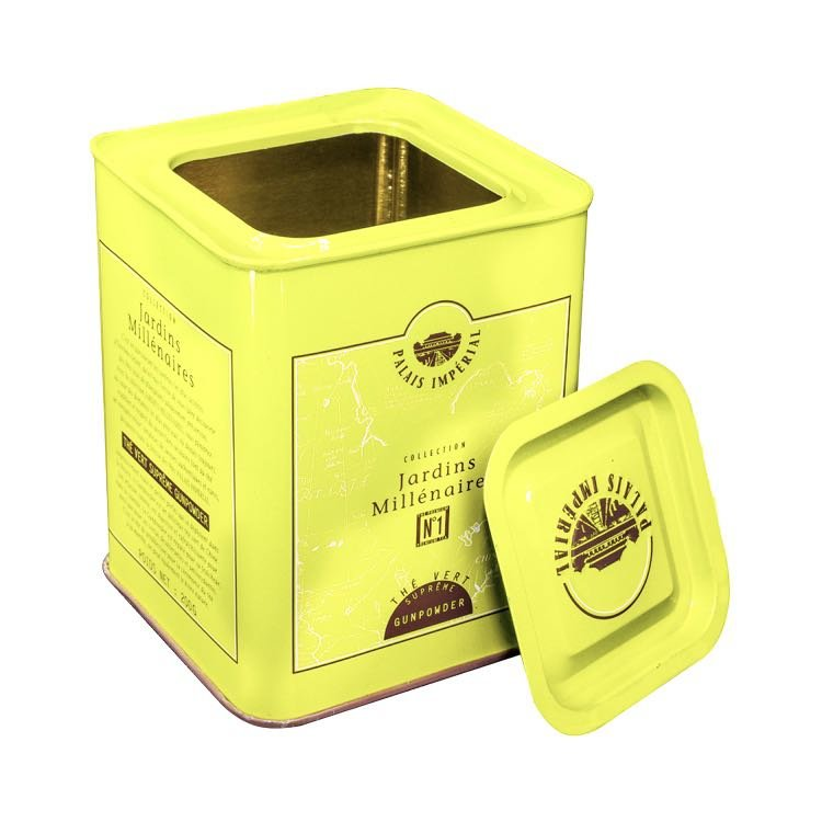 square shape tin tea  box with round lid