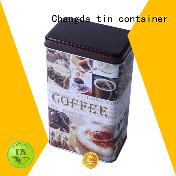 Changda coffee tin box beautiful design free sample